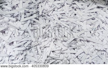 Strips Of Shredded Paper From A Paper Shredder For Background Or Texture
