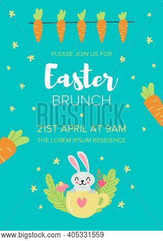 Easter Brunch Invitation Card Design, Illustration Of Colourful Easter Rabbit And Carrot With Time,