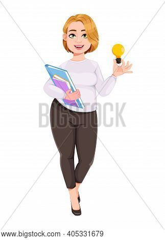 Young Plus Size Pretty Woman. Beautiful Overweight Businesswoman Having A Good Idea. Stock Vector Il