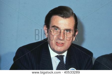 LONDON - APRIL 4: Sir Peter Bowness, Conservative party Leader of Croydon Council, speaks at a press conference on April 4, 1990 in London. He was made Lord Bowness of Warlingham in 1996.