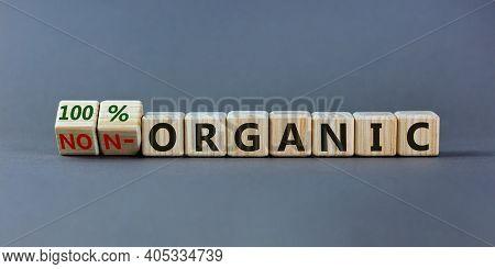 100 Percent Organic Symbol. Fliped Wooden Cubes And Changed Words Non-organic To 100 Percent Organic