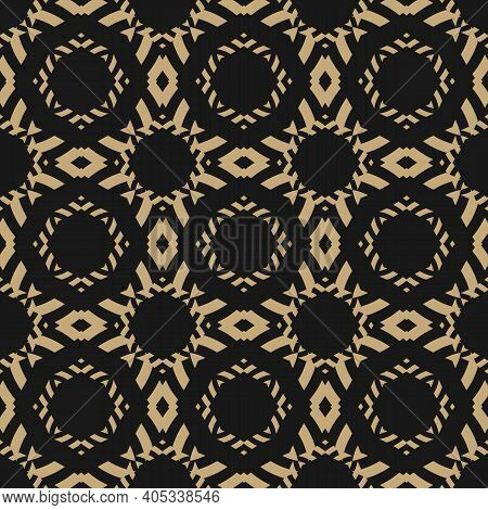 Vector Ornamental Seamless Pattern. Golden Geometric Ornament Texture With Flower Silhouettes, Diamo
