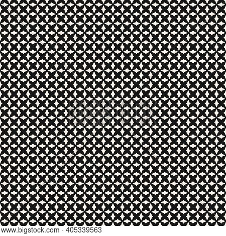 Black And White Geometric Seamless Pattern With Small Curved Shapes, Diamonds, Crosses, Grid, Mesh,