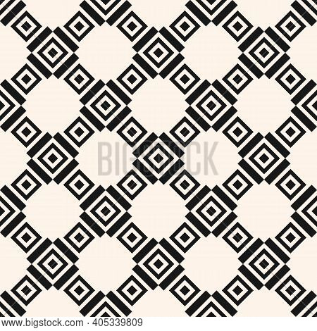 Geometric Square Texture. Monochrome Vector Seamless Pattern With Rhombuses, Squares, Grid, Lattice,