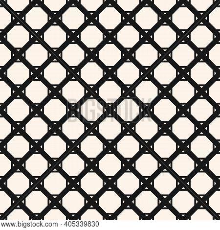 Vector Monochrome Seamless Pattern With Diamond Grid, Net, Mesh, Lattice, Grill, Diagonal Lines, Squ