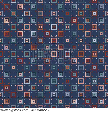 Vector Geometric Seamless Pattern With Squares, Triangles, Tiles. Abstract Colorful Texture. Stylish