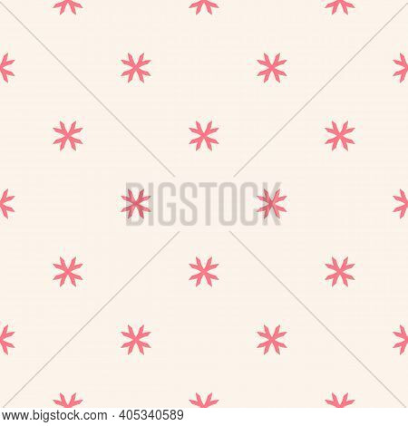 Vector Geometric Floral Pattern. Minimal Seamless Texture. Abstract Ornament With Small Flower Shape