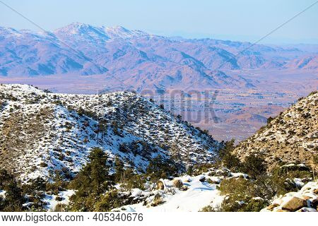Rural Mountains Covered With Snow Overlooking The Arid Mojave Desert Taken In The San Bernardino Mou
