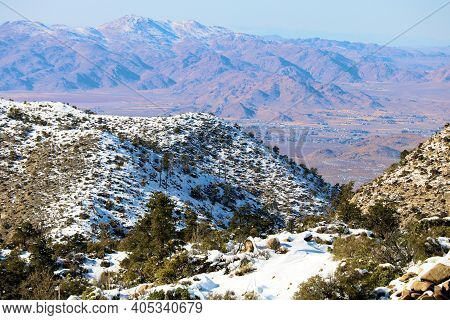 Rugged Snow Covered Mountains Overlooking The Mojave Desert Taken In The Rural San Bernardino Mounta