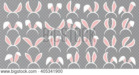Easter Rabbit Ears Icons - Big Set. Collection Of Masks Pink Bunny Ear On Transparent Background. Cu