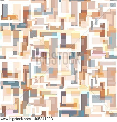 Tender Neutral Colors Seamless Pattern With Abstract Rectangles. Brown Geometric Texture For Textile