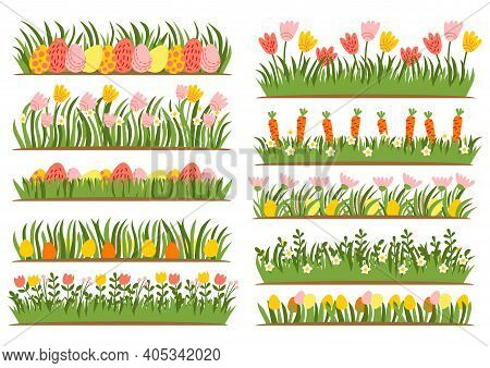 Easter Eggs On The Grass With A Flower Set. Spring Holidays In April. Sunday Seasonal Celebration Wi