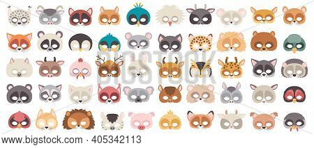 Set Of Photo Booth Props Masks Of Wild And Domestic Animals. Great For Party And Birthday. Vector Il