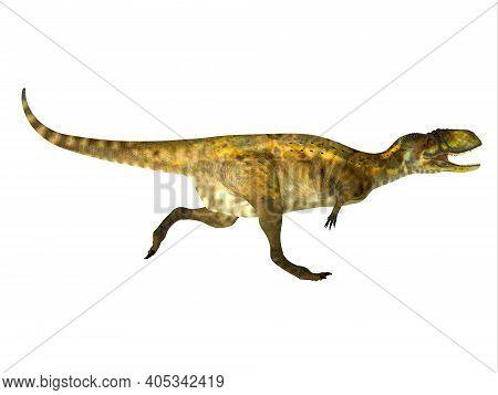Abelisaurus Dinosaur Running 3d Illustration - Abelisaurus Was A Theropod Carnivorous Dinosaur That