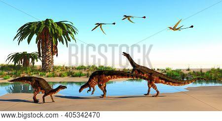 Plateosaurus Dinosaur Beach 3d Illustration - Plateosaurus Dinosaurs, Eudimorphodon Reptiles And Bju