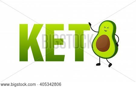 Keto Diet Concept In Cartoon Style. Isolated Vector Illustration. White Background. Good Diet.