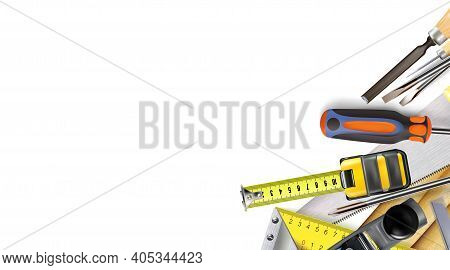 3d Composition Of Set Tools Of Carpenter Craft Or Construction Isolated On White Background. Copy-sp