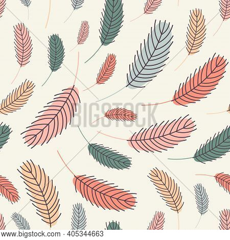 Bird Feathers Seamless Pattern. Easter Pattern With Chicken Feathers. Vector Flat Illustration. Desi