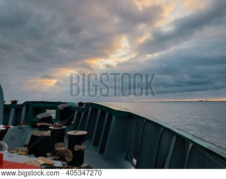 View From Ocean Vessel Deck. Beautiful Sky With Clouds