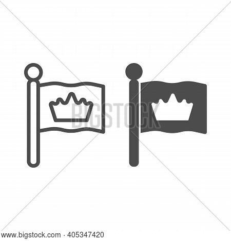 King Flag Line And Solid Icon, Fairytale Concept, Monarch Heraldic Emblem Sign On White Background,
