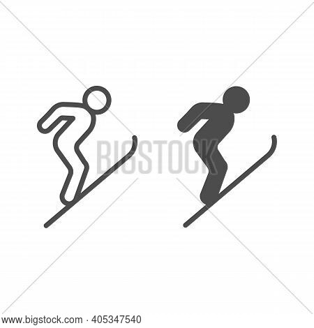 Flying Skier Line And Solid Icon, Winter Season Concept, Ski Jumper Sign On White Background, Ski Ju