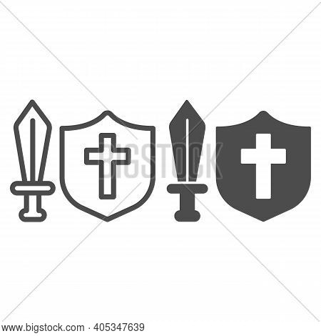 Medieval Sword And Shield Line And Solid Icon, Fairytale Concept, Medieval Weapon Sign On White Back