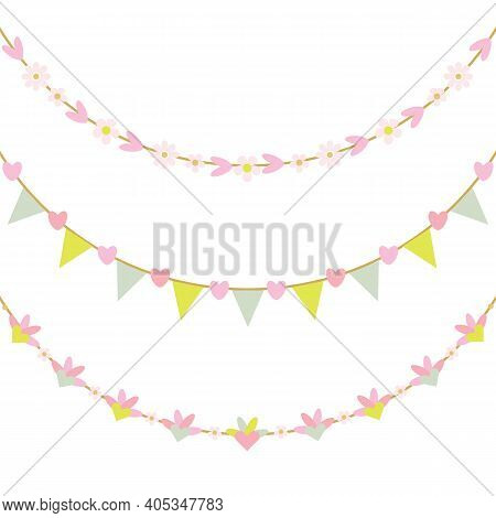 Cute Spring Pink Pastel Colors Hearts And Flowers Hanging Decoration Bunting Banners Set On White Ba