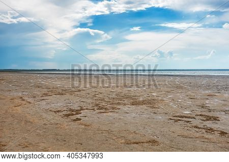 Lake Ebeity, Omsk Region, Russian Federation, Large Salt Lake With Therapeutic Mud. Beautiful Natura