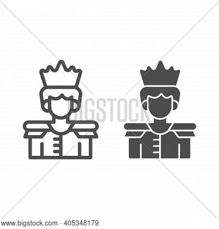 Prince Line And Solid Icon, Fairytale Concept, King Sign On White Background, Prince With A Crown Ic