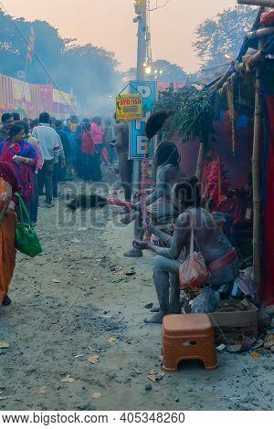 Kolkata, West Bengal, India - 12th January 2020 : Devotees Walking At Gangasagar Transit Camp To Vis