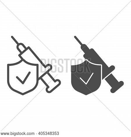 Syringe Injection With Shield Line And Solid Icon, Injections Concept, Emblem Checked And Syringe Si