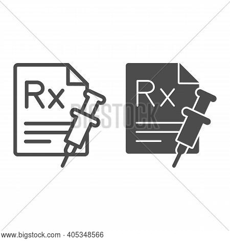Rx Prescription And Syringe Line And Solid Icon, Injections Concept, Painkiller Medication Prescript