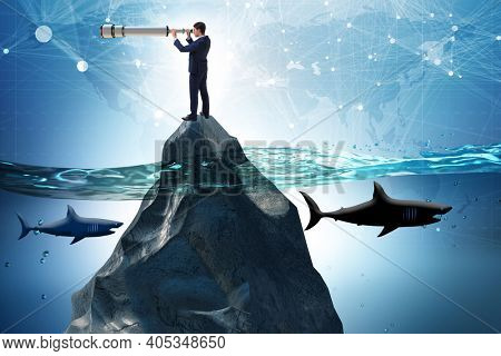 Businessman in forecasting and business planning concept