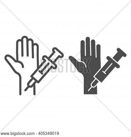 Injection With Syringe In Hand Line And Solid Icon, Injections Concept, Making Vaccination Sign On W
