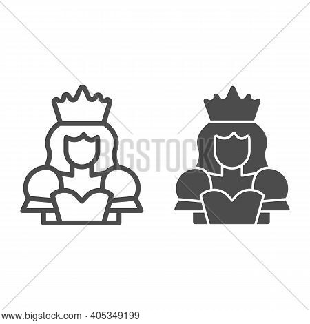 Queen Line And Solid Icon, Fairytale Concept, Princess Sign On White Background, Queen With A Crown