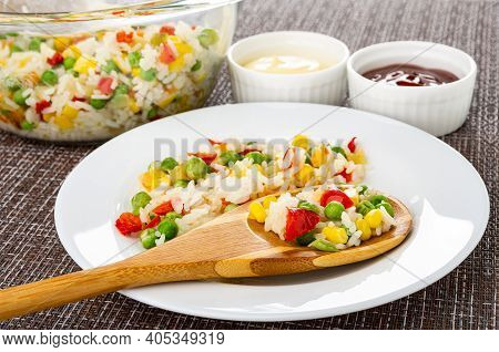Vegetable Blend In Transparent Glass Bowl, Ketchup And Mayonnaise In Bowls, Bamboo Spoon With Vegeta