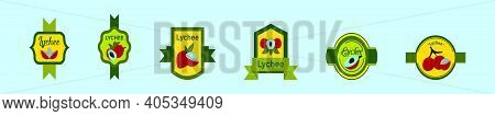 Set Of Lychee Label Cartoon Icon Design Template With Various Models. Modern Vector Illustration Iso