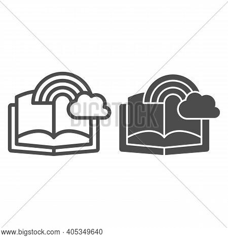 Book With Rainbow And Cloud Line And Solid Icon, Fairytale Concept, Book With Fairy Tale Sign On Whi