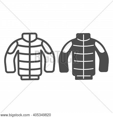 Winter Jacket Line And Solid Icon, Winter Season Concept, Winter Clothing Fashion Sign On White Back