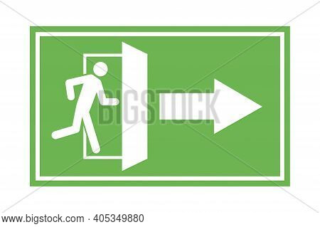 Emergency Exit Right. Information Icon Vector. Fire Sign. Protection Symbol. Stock Image. Eps 10.
