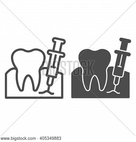 Tooth With Anesthesia Syringe Line And Solid Icon, Injections Concept, Teeth Anesthesia Sign On Whit