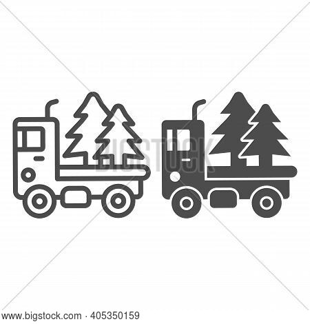 Truck With Christmas Trees Line And Solid Icon, Winter Season Concept, Christmas Delivery Sign On Wh