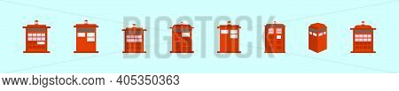 Set Of Tar Dis Or Police Phone Box Cartoon Icon Design Template With Various Models. Modern Vector I