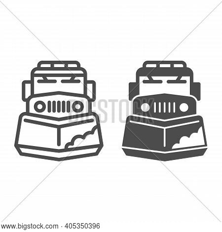 Snow Plow Truck Line And Solid Icon, Winter Season Concept, Snow Removal Machine Sign On White Backg