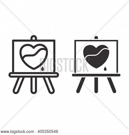 Painted Heart On Canvas Line And Solid Icon, Valentines Day Concept, Wood Easel Sign On White Backgr