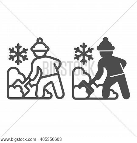 Worker Cleans Snow On Street Line And Solid Icon, Winter Season Concept, Sweeper With Shovel Sign On