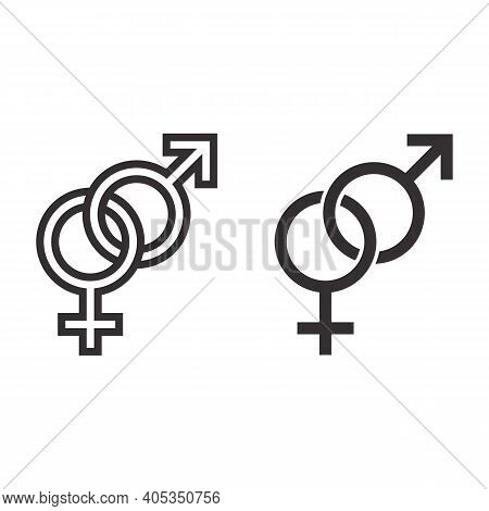 Heterosexual Symbols Line And Solid Icon, Valentines Day Concept, Male And Female Sign On White Back