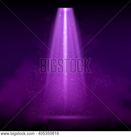 Purple Spotlight. Bright Lighting With Spotlights Of The Stage With Purple Ducst On Transparent Back
