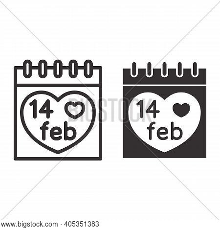Fourteen February On Calendar Line And Solid Icon, Valentines Day Concept, Desk Calendar With Heart
