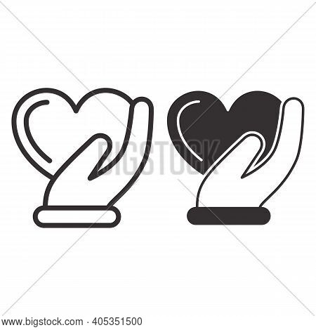 Heart In Gentle Hand Line And Solid Icon, Valentines Day Concept, Heart Care Sign On White Backgroun